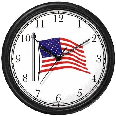 - Flag of USA (US Flag) - American Theme Wall Clock by WatchBuddy Timepieces (Black Frame)