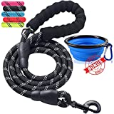ladoogo Heavy Duty Dog Leash - Comfortable Foam Handle, 5 ft Long - Dog Leashes for Medium Large Dogs with A Free Collapsible Pet Bowl (Black)