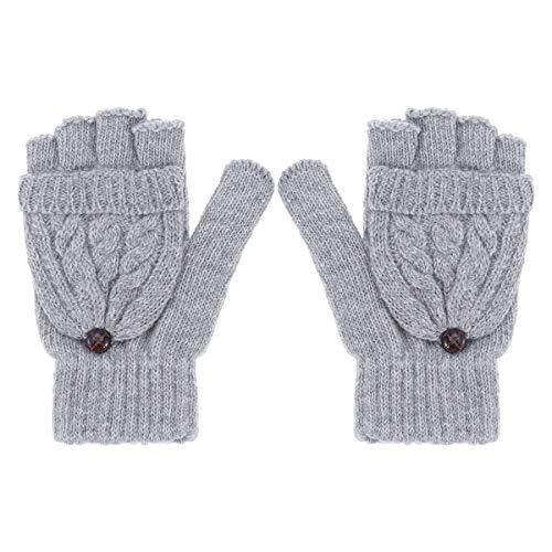 UEETEK Women Winter Warm Wool Knitted Convertible Fingerless Gloves with Mitten Cover (Grey)