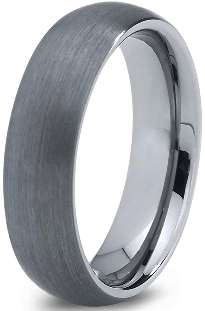 Charming Jewelers Tungsten Wedding Band Ring Grey 6mm Men Women Comfort Fit Dome Brushed Size 8