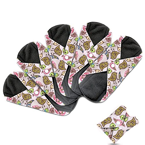 Dutchess Cloth Menstrual Pads - Reusable Sanitary Napkins Premium Bamboo Quality 5 Pack Set - With Charcoal Absorbency Layer to Avoid Leaks, Odors and Staining - Save Money and Landfill Waste Photo #1
