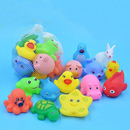 Baby Bath Toys - 13 Pcs Lovely Mixed Animals Swimming Water Toys Colorful Soft Rubber Float Squeeze Sound Squeaky Bathing Toy For Baby Bath Toys - Organic Bath Toys