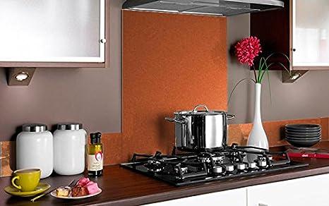 Vidriopanel Copete DE Vidrio Color Metalizado para frentes de cocinas en Diferentes Medidas/Zócalo de Encimera antisalpicaduras en Cristal (40cm x 14cm, Naranja Metalizado): Amazon.es: Hogar
