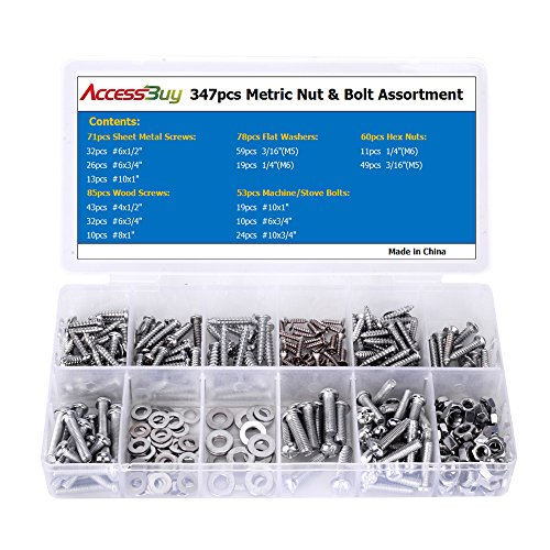 Accessbuy 347pc Home Nut, Bolt, Screw & Washer Assortment - All Phillips Head! - Machine Screw Washer