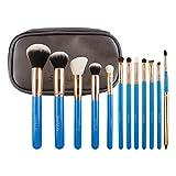 SIXPLUS 12PCS Professional Makeup Brushes Set Premium Kabuki Cosmetics Brushes for Eye and Face with Makeup Kit(Blue)