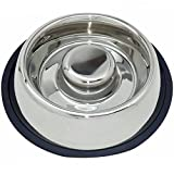 Mr. Peanut's Stainless Steel Interactive Slow Feed Bowl, Fun Healthy Bloat Stop Feeder (64 oz)