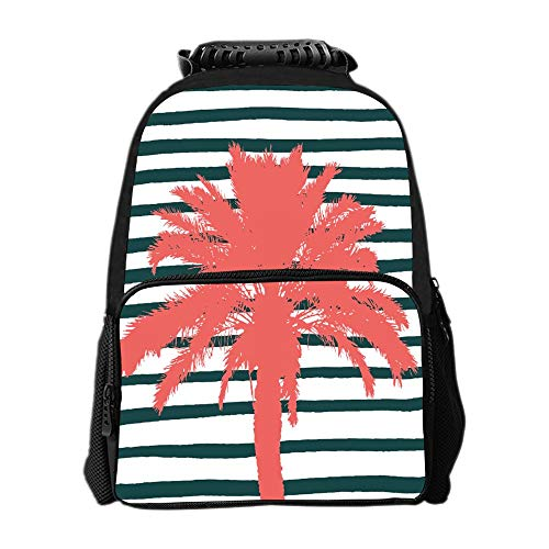 SARA NELL Living Coral Palm Tree Stripes School Backpacks For Girls Kids Elementary School Bags Bookbag