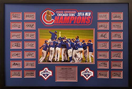 Chicago Cubs Rizzo Bryant Baez Zobrist Custom Framed Team Collage World Series Champs Facsimile ()