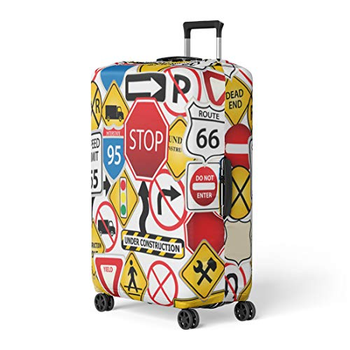 Semtomn Luggage Cover Street Collage of Road and Traffic Signs Highway Stop Travel Suitcase Cover Protector Baggage Case Fits 22-24 - Signs Clipart Traffic