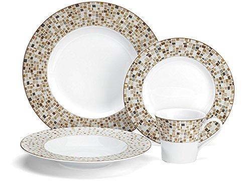 Cuisinart CDP01-S4ADB Aleria Brown Collection 16-Piece Porcelain Dinnerware (16 Piece Porcelain Dinnerware Set)