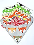 Baby Bandana Drool Bibs, Unisex 7 pack premium bib gift set for Drooling and Teething, soft cotton and absorbent pieces for boys and girls Red, yellow, orange, green