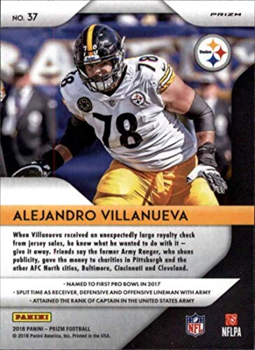 4feebdc0d Amazon.com  2018 Panini Prizm Prizm Green  37 Alejandro Villanueva  Pittsburgh Steelers NFL Football Trading Card  Collectibles   Fine Art