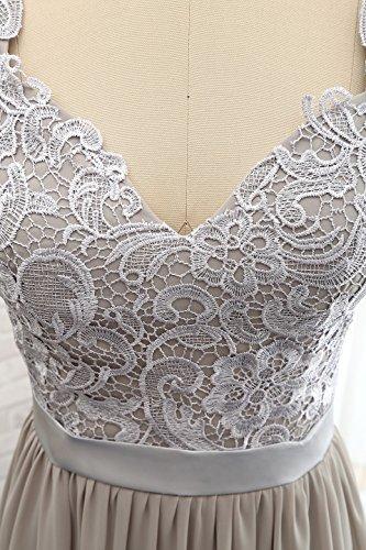 Elegantes V Langes Ausschnitt Abendkleid A Damen Chiffon Spitze Sleeve Fuchsie Linie Cap x7qCWXdF