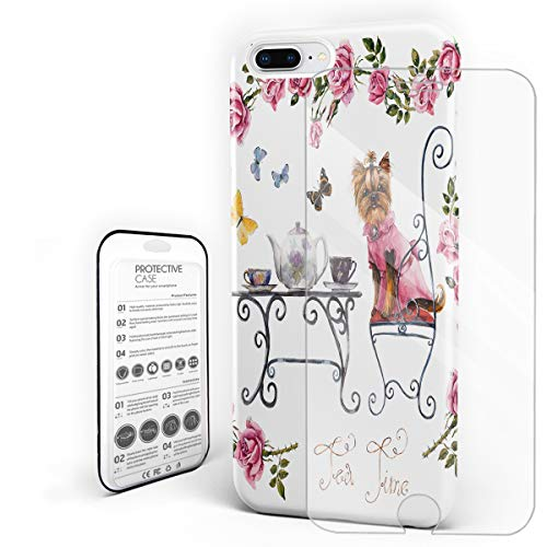 Poodle Drinking Afternoon Tea Phone Case Compatible with iPhone 7 Plus and iPhone 8 Plus, Slim Shock Absorption Hard Plastic Phone Cover with Tempered Glass Screen Protector