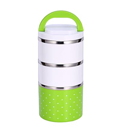 4d28b6454d25 1-3 Layer Stainless Steel Thermo Thermal Insulated Lunch Box Bento Food  Container With Handle (1200ML Three layer, Green)