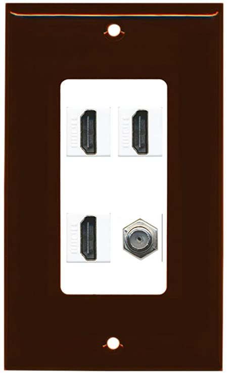 RiteAV - 3 x HDMI and 1 x Coax Cable TV F Type Port Wall Plate