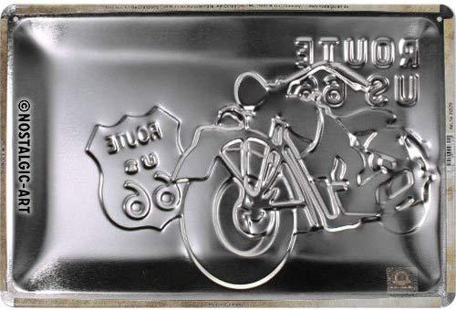 Nostalgic-Art 22279 Route 66 Bike Map | Retro Cartel de Chapa | Vintage de Cartel, decoración de Pared, Metal, 20 x 30 cm, 20 x 30 x 0.2 cm