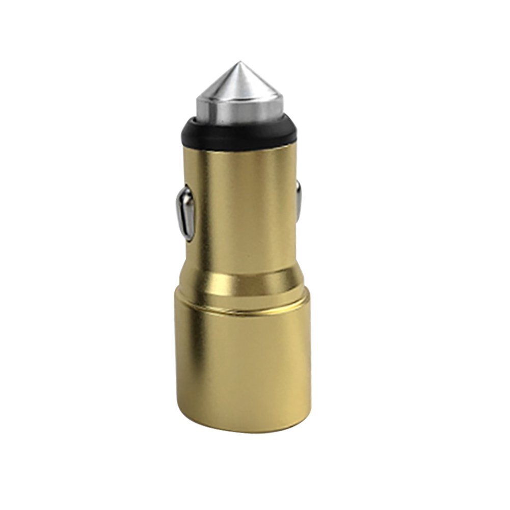 FAgdsyigao Universal Auto Dual USB Port Car Charger, Fast Charging Phone Chargers with Emergency Hammer Golden