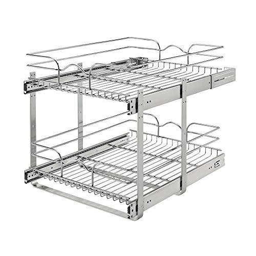 Rev-A-Shelf 5WB2-1822CR-1 18 x 22 Inch 2-Tier Wire Basket Pull Out Shelf Storage for Kitchen Base Cabinet Organization…