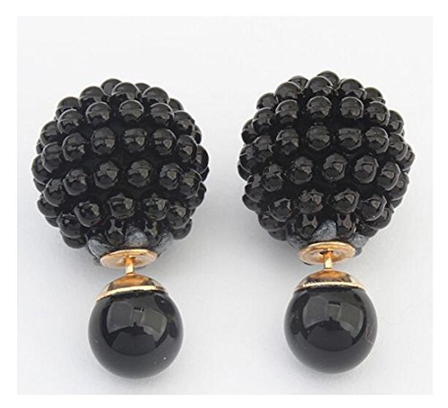Luck Wang Woman's Unique Creative Personalized Fashion Pearl Earrings(Black)