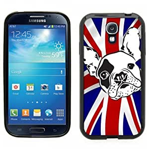 Samsung Galaxy S4 SIIII Black Rubber Silicone Case - Bulldog on UK Flag, French English Bulldog