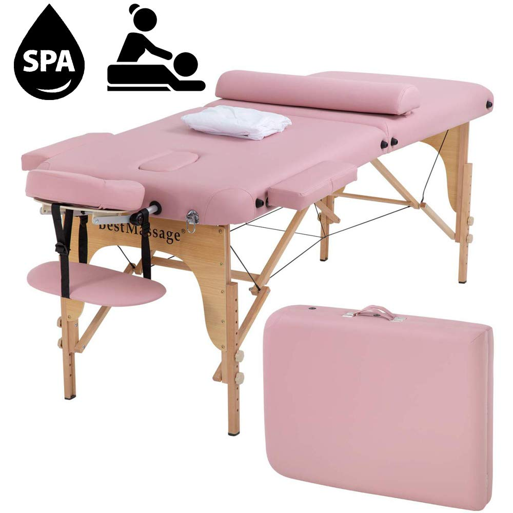 Tyyps Portable Massage Table 2 Fold - 73 Inch Spa Bed Hight Adjustable, Aluminium Massage Bed W/Half Bolsters Salon Bed,Pink by Tyyps