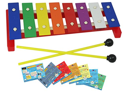 D'Luca TL8-2 8 Notes Children Xylophone Glockenspiel with Music Cards by D'Luca