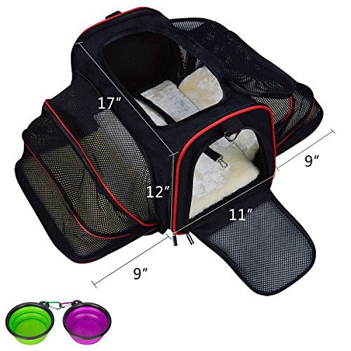 LOGROTATE Pet Carrier Airline Approved Portable Cat Carrier Dog Carrier Two Sides Expandable Travel Carriers Bag Purse for Dogs Cats Kittens Puppies & Small and Medium Animals
