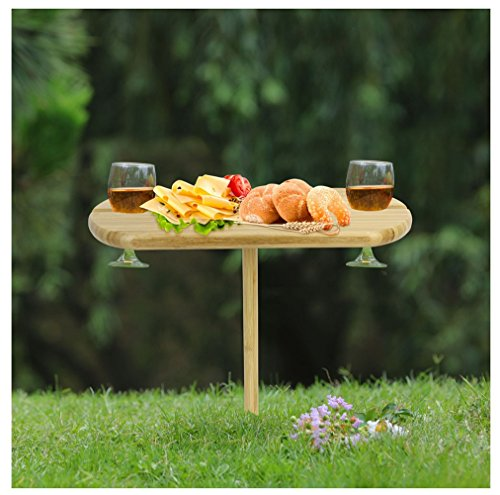 INNO STAGE Picnic Wine Table, Portable and Foldable Bamboo Snack Table for Picnic Outdoor on the Beach Park or Indoor Bed-2 (Picnic Table Portable)