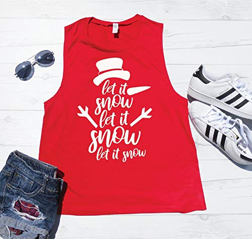Let It Snow Tank Top, Christmas Tank Top, Muscle Tank, Christmas Workout Shirt, Christmas Gym Tank, Snowman Tank Top, Cute Snowman Christmas Shirt ()