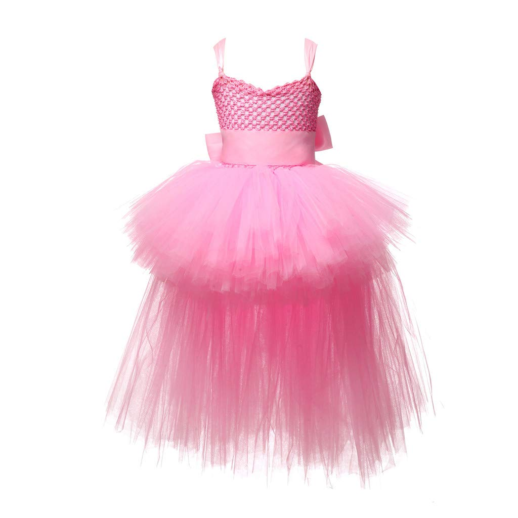Sameno Toddler Kids Girls Princess Dress Lace Tulle Tutu Formal Bridesmaid Pageant Party Wedding Evening Ball Gown 2-9t Pink by SamXmasBaby