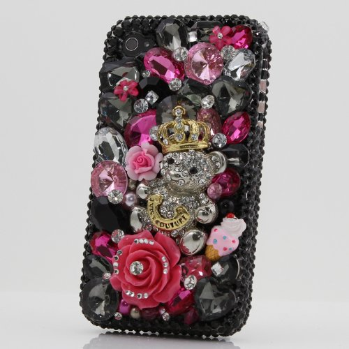 3D Swarovski Black Juicy Crystal Bling Case Cover for iphone 4 / 4s AT&T Verizon & Sprint (Handcrafted by BlingAngels) by Bling