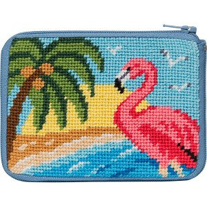 (Stitch and Zip Coin Purse Needlepoint Kit - Flamingo)