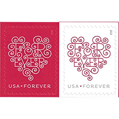 USPS Forever Hearts Forever Stamps - 100 Stamps (5 sheets of 20): Office Products