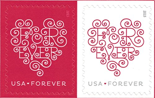 USPS Forever Hearts Forever Stamps - 100 Stamps (5 sheets of 20) (Best Wedding Motif For 2019)