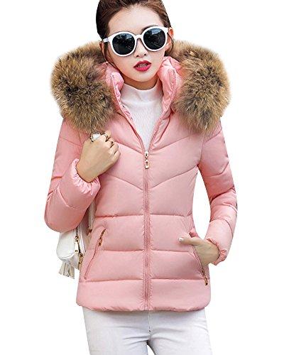 pais Grande ZongSen Femme Pink Capuche Coton Section Veste Courte Slim Manteau matelasse Taille en qxFxXYB