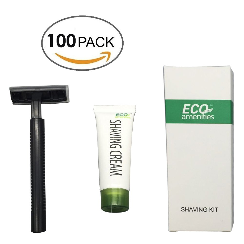 ECO Amenities Smooth Shave Disposable Razor with Cream, Individually Wrapped Paper Box, 100 Set per Case