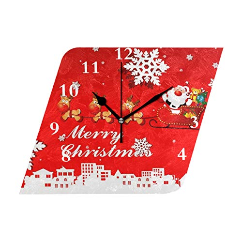 HangWang Wall Clock Christmas Deer Pull Car Gift Silent Non Ticking Decorative Diamond Digital Clocks Indoor Outdoor Kitchen Bedroom Living Room -