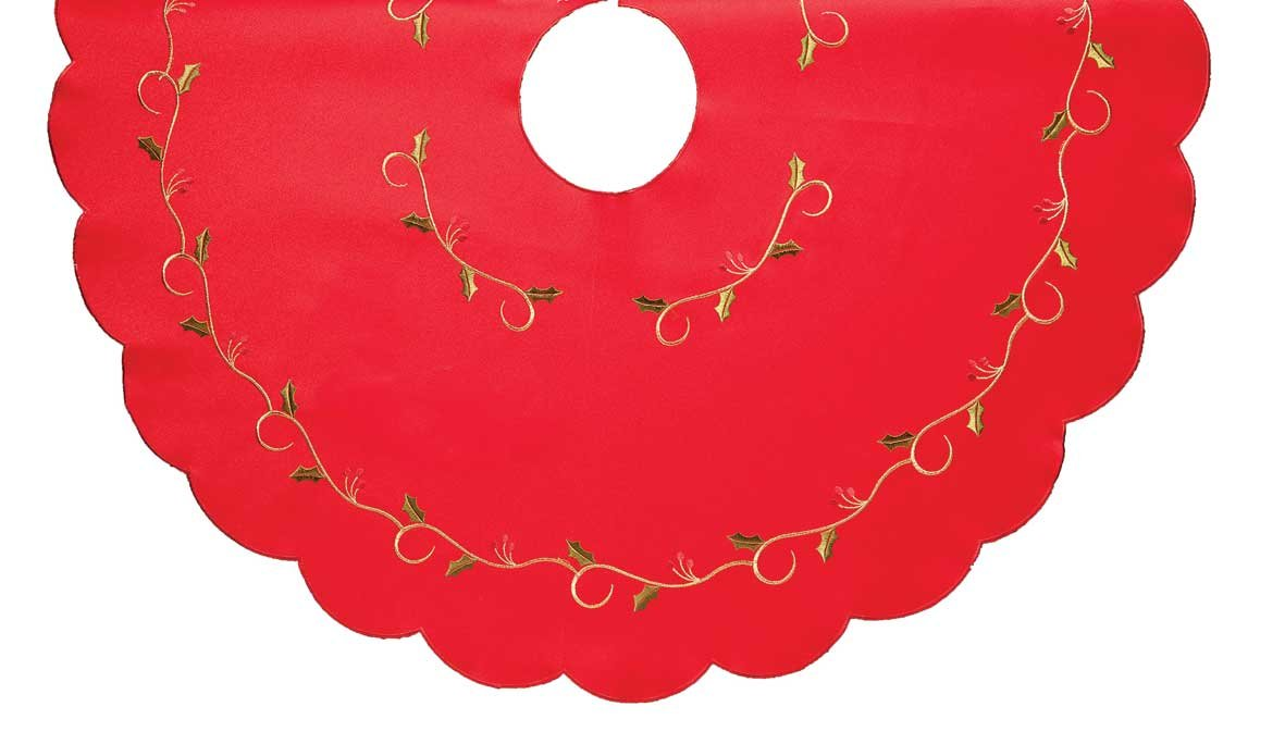 CHRISTMAS TREE SKIRT, RED WITH GREEN HOLLY VINE EMBROIDERY, IDEAL FOR COVERING UP THE BASE OF THE TREE (HOLLY VINE RED 14047)