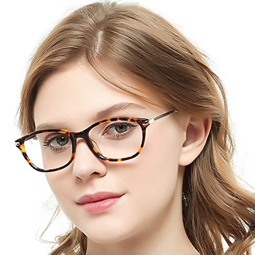 Rectangle Eyewear Frame Non-Prescription Eyeglasses With Clear Lenses For Women Men (Spuare-Brown+ Demi)