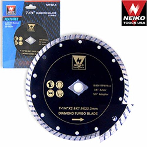 Neiko 7 1/4 Inch Wet Dry Diamond Masonry Cement Tile Cutting Cut Power Saw Turbo - Diamond Neiko