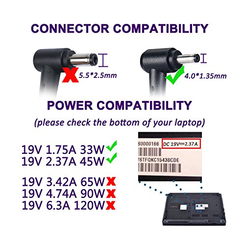 Laptop Power Supply 45W Notebook Charger for Asus UX330 UX330U UX360 UX360C UX305 UX305C X540 X541 F553 F553M F556 F556U F302 K556 K556U Taichi 21 31 ASUS AC Adapter (45W 19V 2,37A & 33W 19V 1,75A) by Purpleleaf (Image #3)