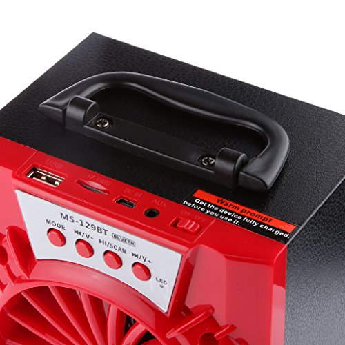 MS-129BT Altavoz Inalámbrico Bluetooth Estéreo Speaker Amplificador Rojo