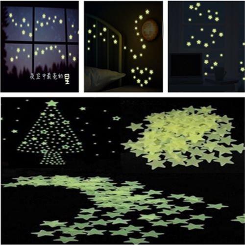 100pcs Fashion DIY Fun Wall Green Light Glow in The Dark Star Kids Room Stickers