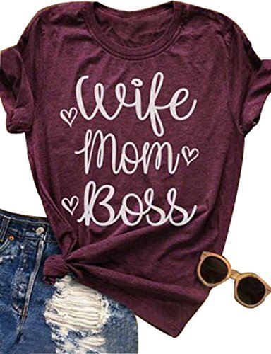 LONBANSTR Women Wife Mom Boss T Shirt Women Funny Short Sleeve Top (XX-Large) - Mom Short Sleeve Tee
