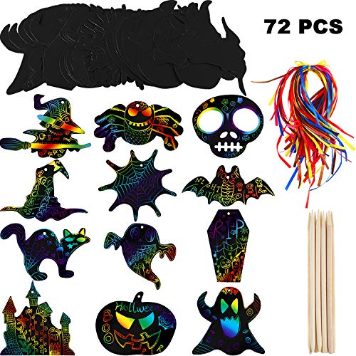 Halloween Bat Arts Crafts (72 Pieces Halloween Scratch Paper Rainbow Scratch Art Scratch Off Paper with 12 Pieces Wooden Styluses and 72 Pieces Mixed Color Bands for Halloween Party)