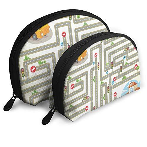 Makeup Bag Go To School Maze Portable Shell Makeup Case For Women Halloween Gift Pack - 2 ()