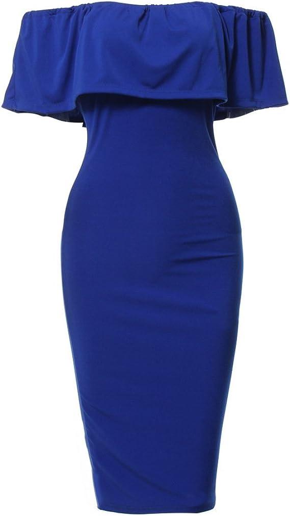Donna Vestiti Tubino Eleganti Estivi Spalla di Parola A Pieghe Puro Colore Abito Bandeau da Casuale Senza Schienale Vestito Moda Spacco Manica Corta Abitini