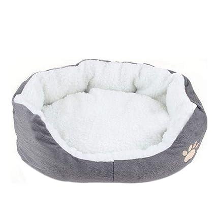 Doitsa 1Pcs Cama para Mascotas para Perro Gato Lindo Suave Cama de Perro de Forma Redonda Casa de Mascota (Gris, L)