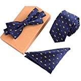 Lanburch Fashionable Premium Formal/Informal Ties Set, Necktie/Bow Tie/Pocket Square for Mens/Boys, Puppy Blue